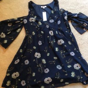 navy floral cold shoulder dress
